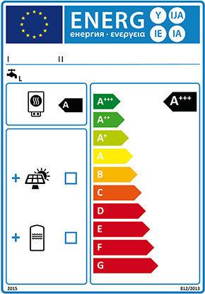 Energy label insiemi di scaldacqua e dispositivi solari.