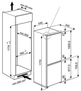 Schema incasso frigorifero Whirlpool ART 459/A+/NF/1.